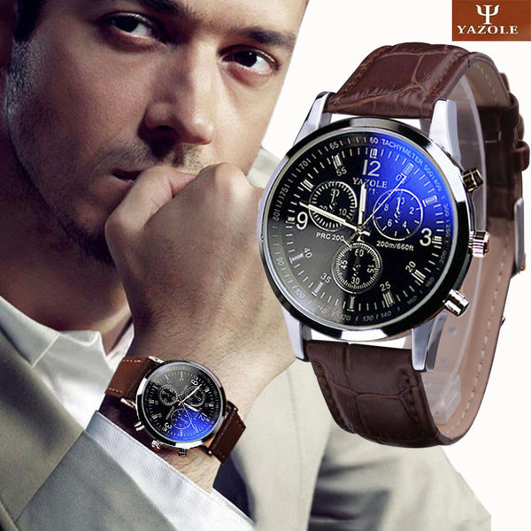 Men's Blue Ray Glass Analog Watch