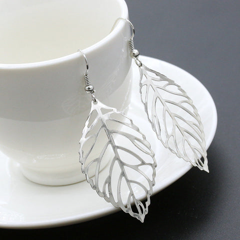 Metal Leaves Dangling Earrings