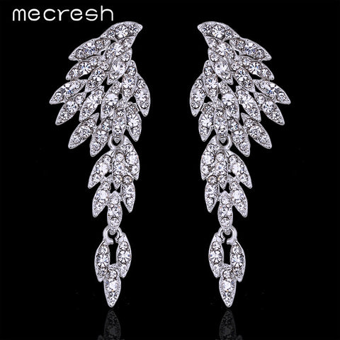 Mecresh Eagle Crystal Bridal Drop Long Earrings