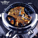 Winner Black Skeleton Designer Watch