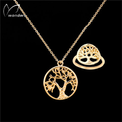 Tree of Life Charm Necklace & Ring For Women