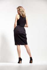 Black 2-Way Zipper Tulip-Skirt Neoprene Dress