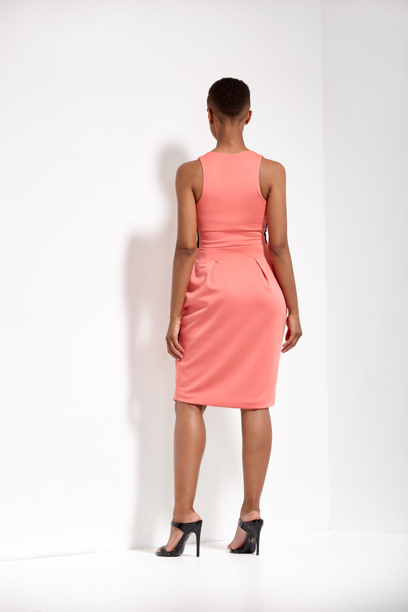 Coral 2-Way Zipper Tulip-Skirt Neoprene Dress