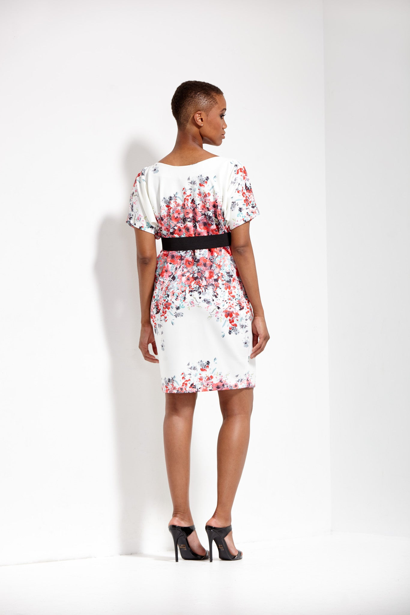 Ursula Print Origami Banded Neoprene Dress