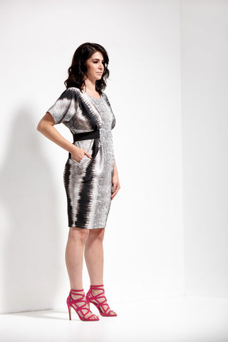 Animal Print Origami Banded Neoprene Dress