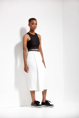 Bright Ivory Waterfall Column Skirt