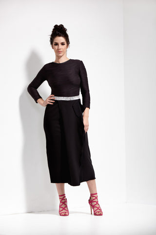 Black Waterfall Column Skirt