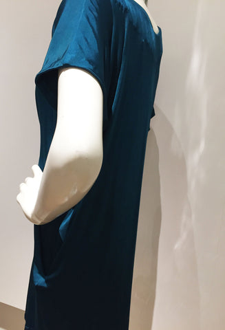 Teal Origami Rayon Jersey Dress
