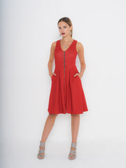 Red 2-Way Zipper Neoprene Dress