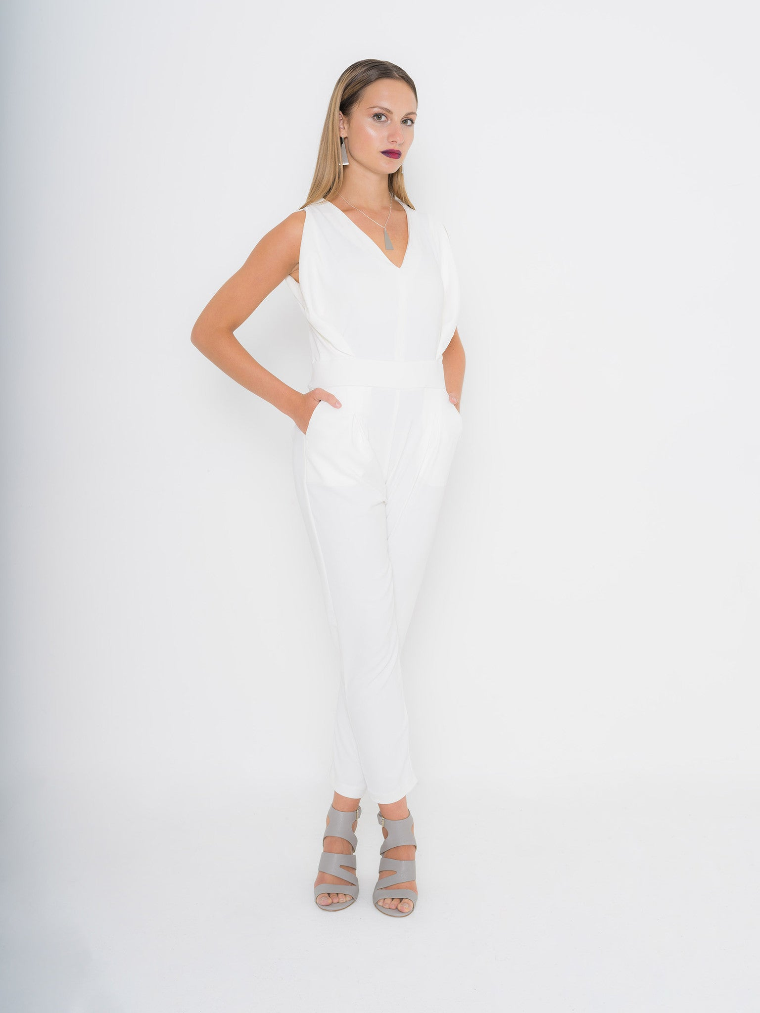 Bright Ivory Origami Banded Jumpsuit