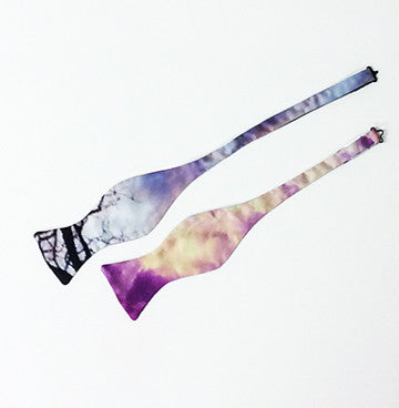 Hurricane Print Poly Charmeuse Bow Tie