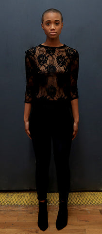 Black Mystique Stretch Lace Tee