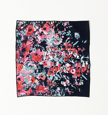 Navy Ursula Floral Print Neoprene Pocket Square