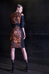 Lava Print Banded Waist Neoprene Bodycon Dress