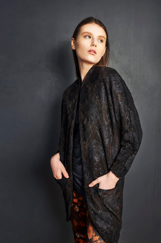 Chocolate Velvet Lace Overlay Big Pocket Neoprene Kimono