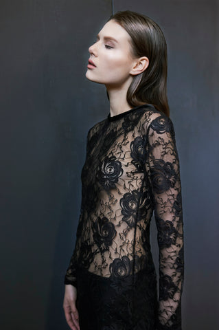 Black Mystique Stretch Lace Tunic
