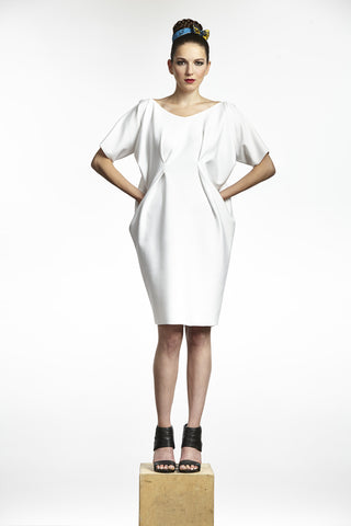 White Origami Neoprene Dress