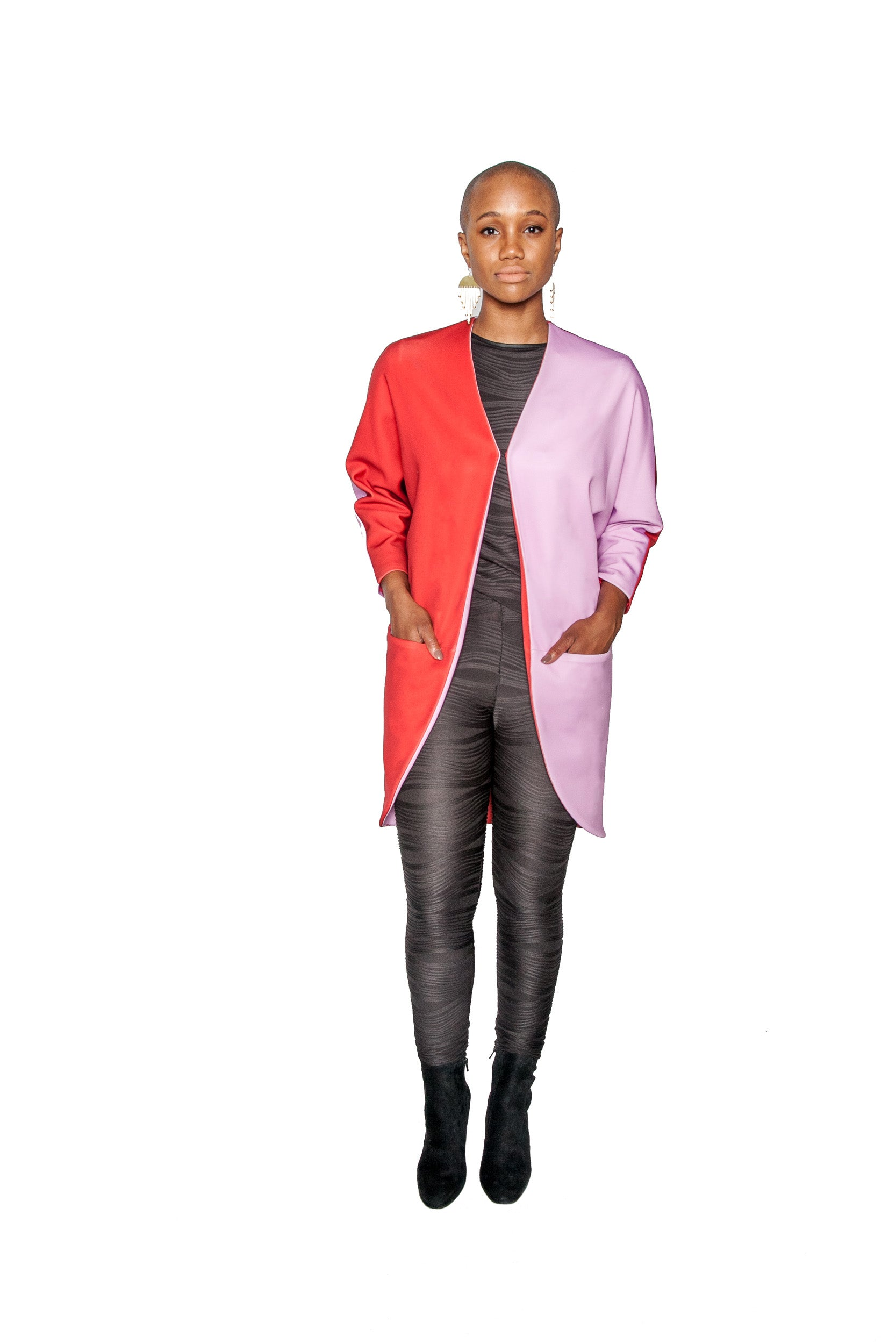 PRE-SALE Colorblock Big Pocket Neoprene Kimono Coat