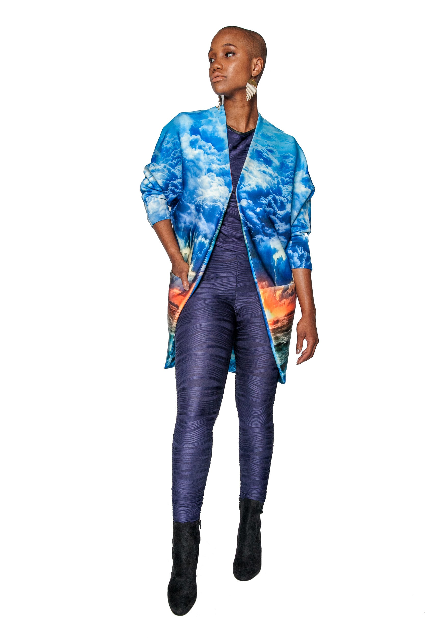 Hurricane Print Big Pocket Neoprene Kimono Coat