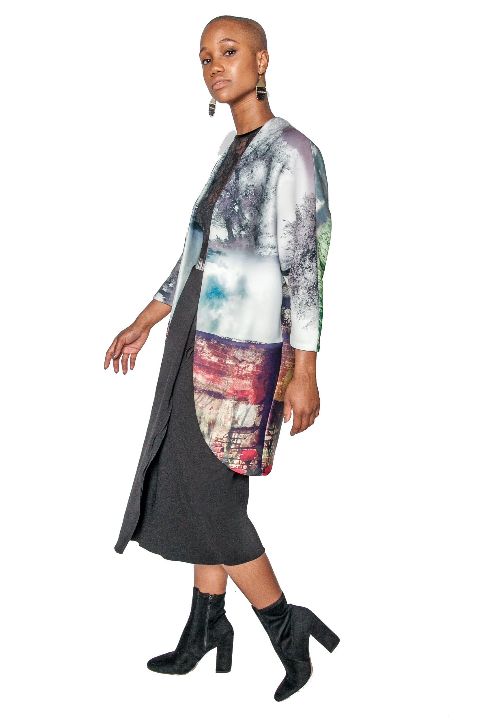 Woodblock Print Big Pocket Neoprene Kimono Coat