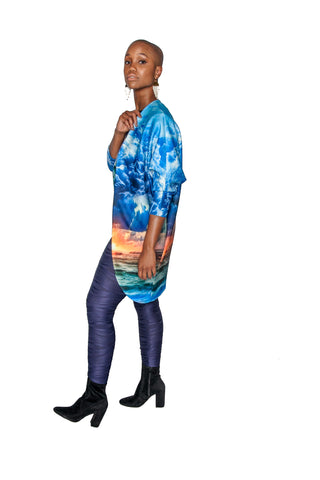 PRE-SALE Hurricane Print Big Pocket Neoprene Kimono Coat