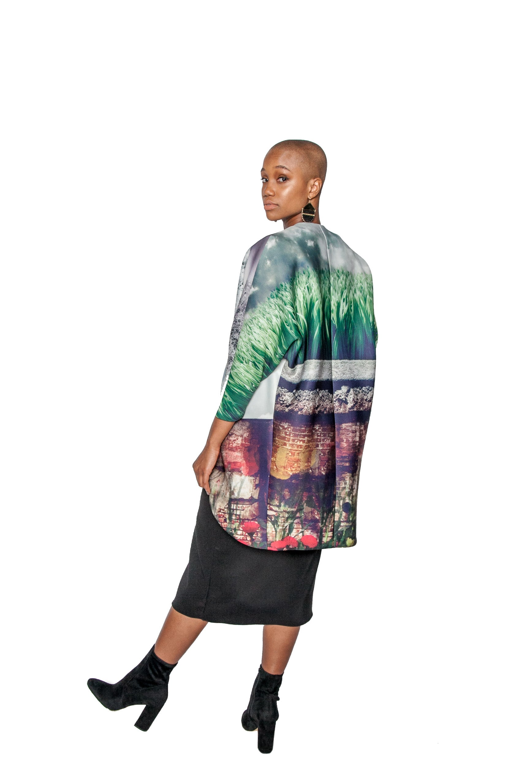 PRE-SALE Woodblock Print Big Pocket Neoprene Kimono Coat