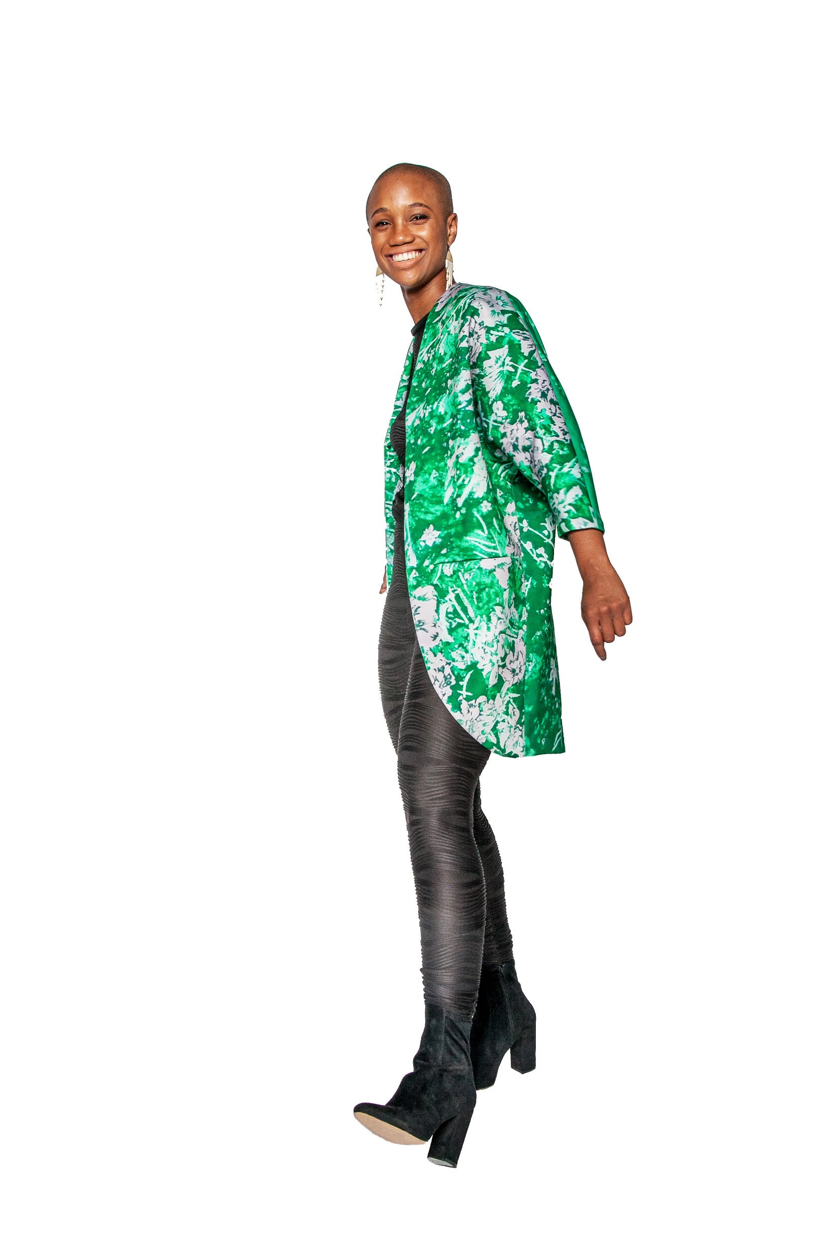 Emerald Namorita Print Big Pocket Neoprene Kimono Coat