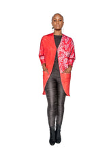 Red Namorita Print Big Pocket Neoprene Kimono Coat
