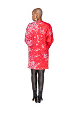 PRE-SALE Red Namorita Print Big Pocket Neoprene Kimono Coat