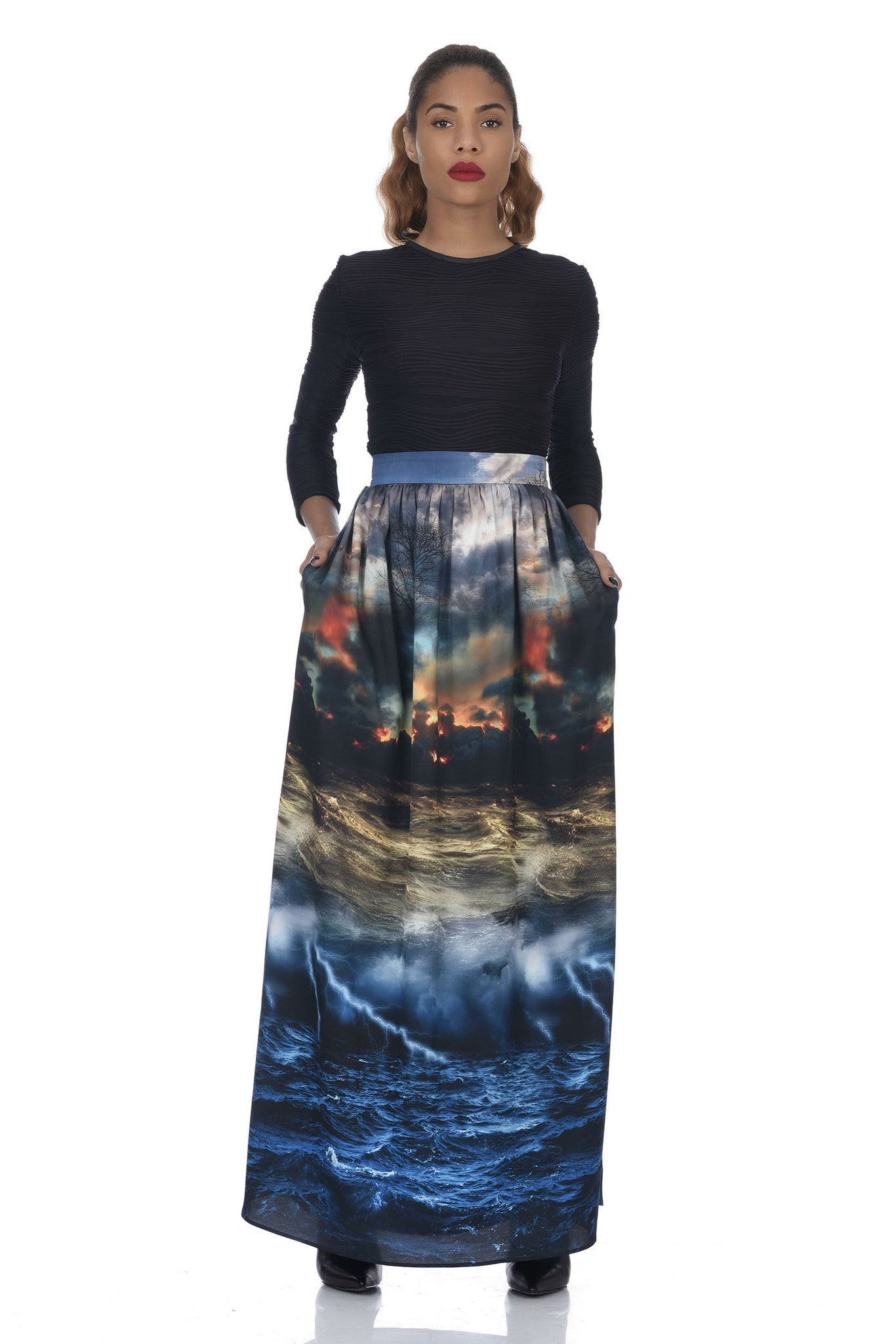 Chaos Print Full Length Skirt