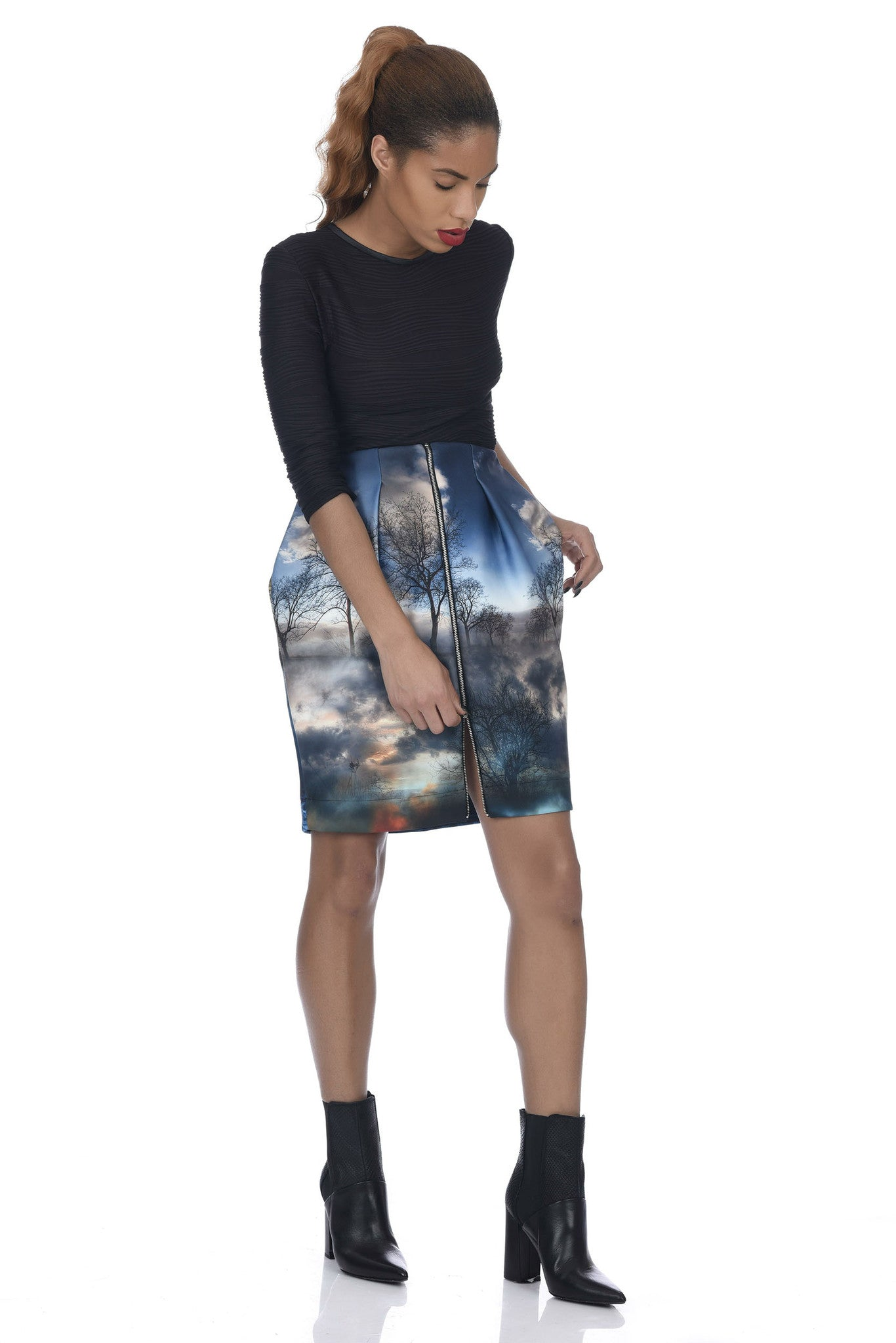 Chaos Print 2-Way Zipper Front Neoprene Skirt