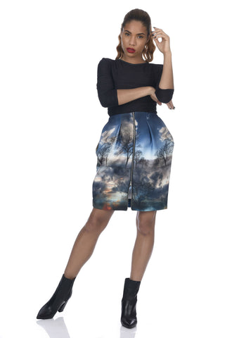 Animal Print 2-Way Zipper Tulip-Skirt Neoprene Dress