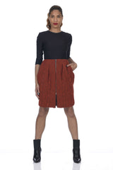 Burnt Orange 2-Way Zipper Front Cable Knit Skirt