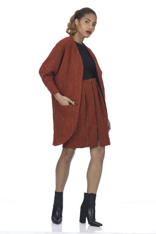 Burnt Orange Big Pocket Cable Knit Kimono Coat