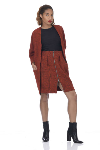 PRE-ORDER Burnt Orange Big Pocket Cable Knit Kimono Coat
