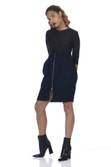 Navy 2-Way Zipper Front Cable Knit Skirt
