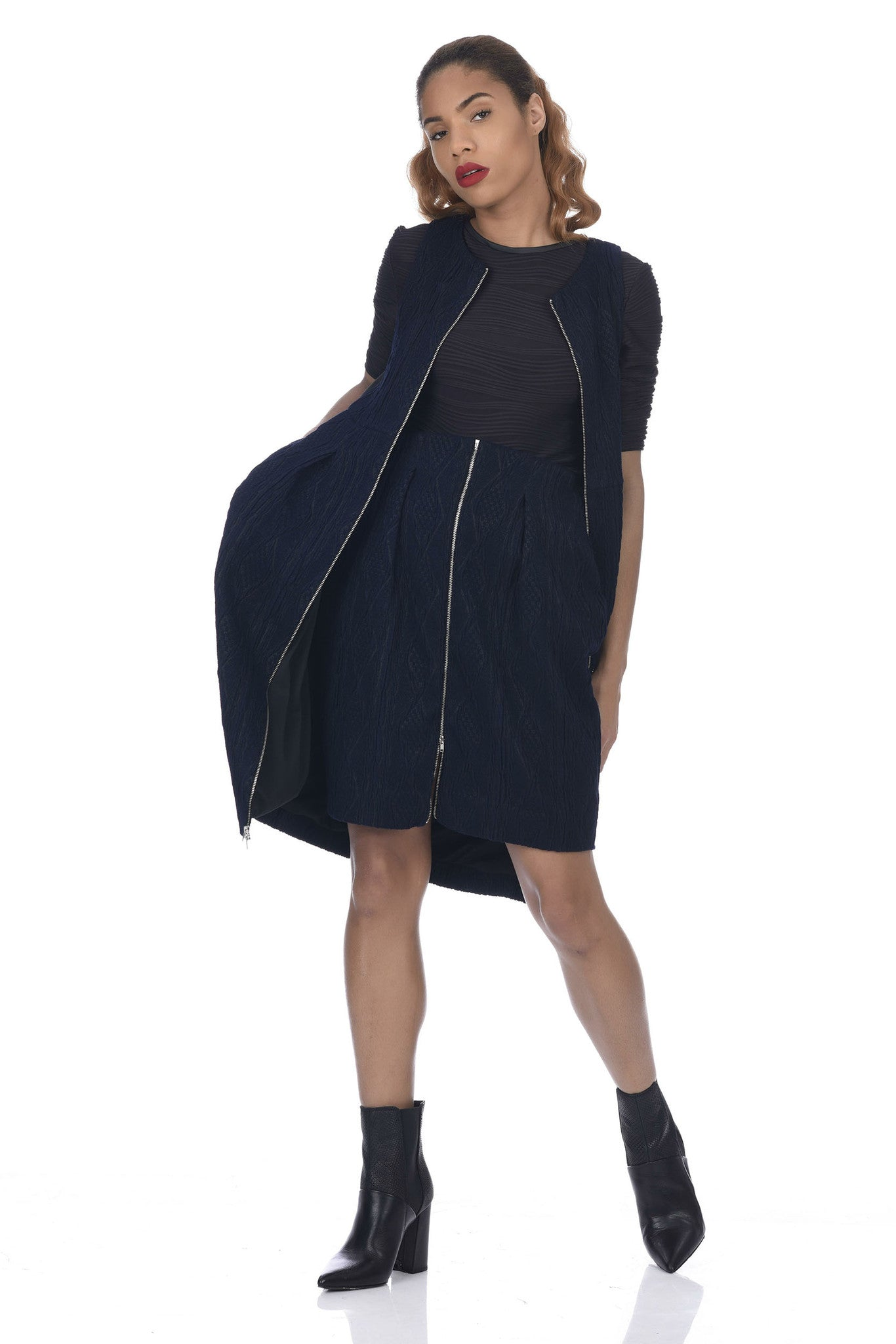 Navy 2-Way Zipper Tulip-Skirt Cable Knit Vest