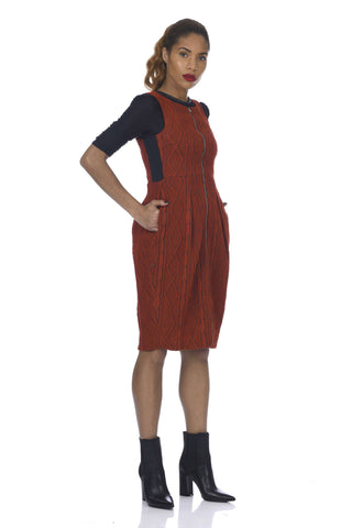 Burnt Orange 2-Way Zipper Tulip-Skirt Cable Knit Dress