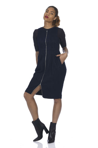 Navy Banded Waist Neoprene Dress