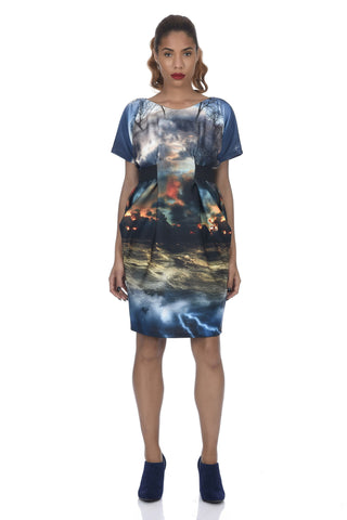 Japanese Garden Print Neoprene Bodycon Dress