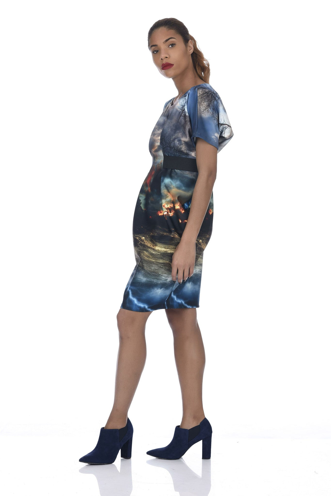 Chaos Print Origami Banded Neoprene Dress