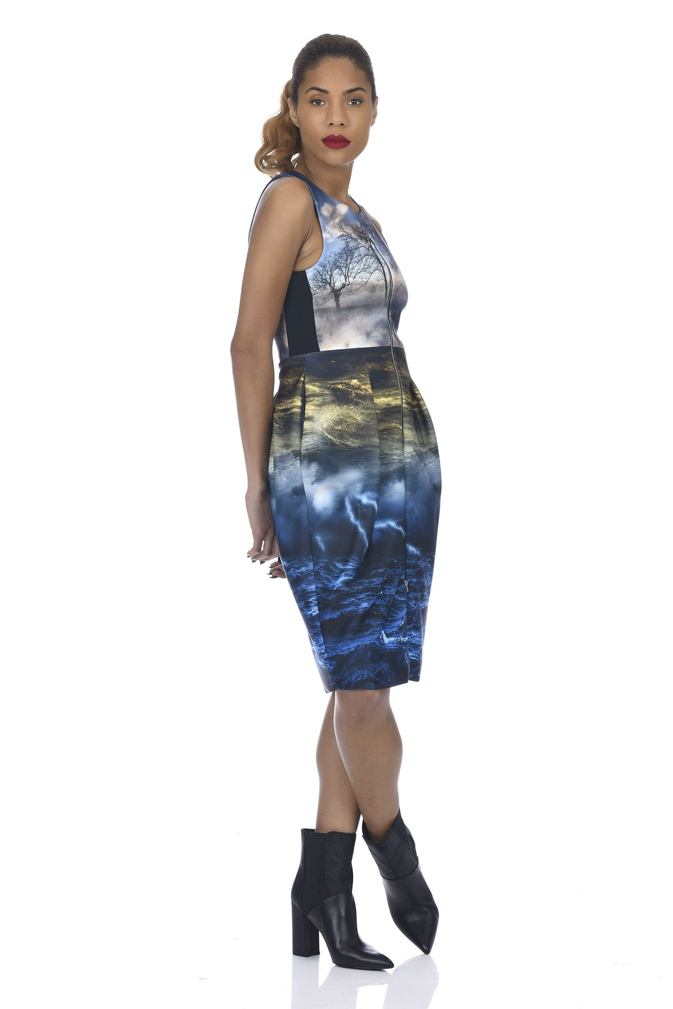 Chaos Print 2-Way Zipper Tulip-Skirt Neoprene Dress