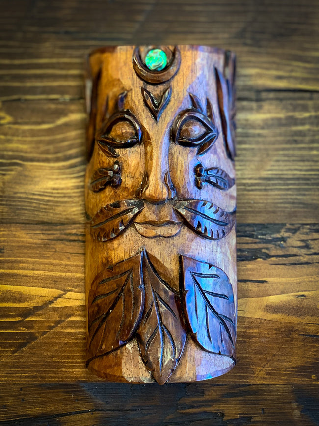 Hand Carved Tree Guardian Spirit w/ Paua Shell Inlay