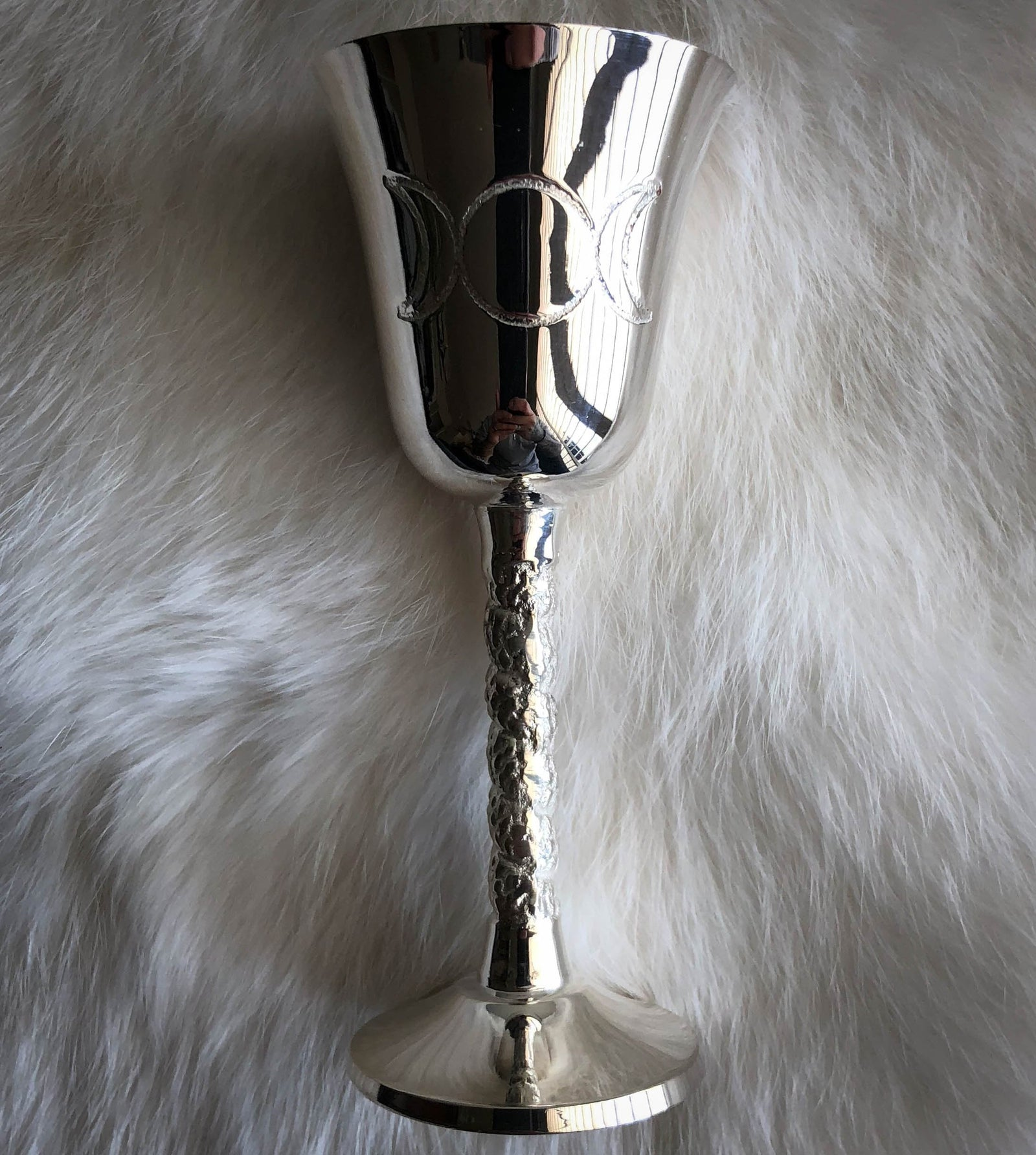 Triple Moon Goddess Chalice - Silver