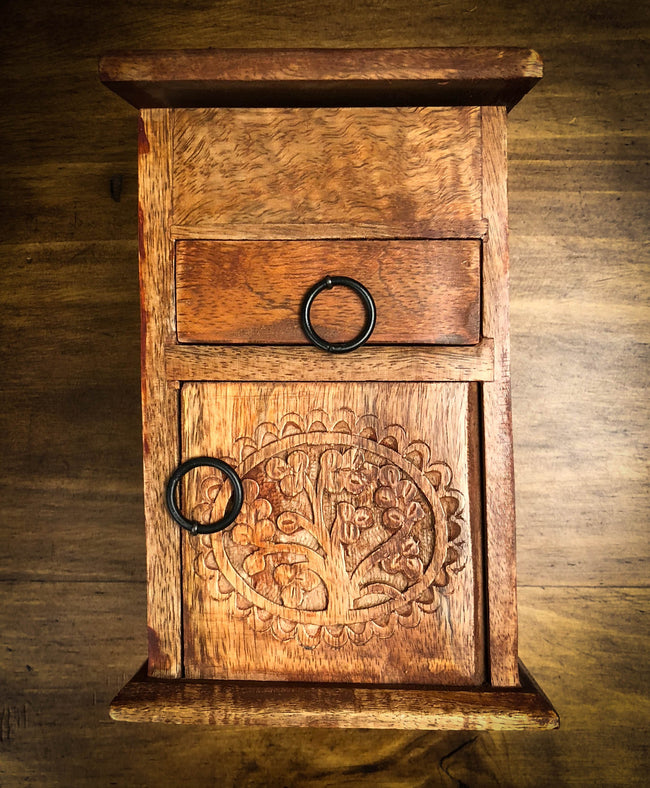Tree of Life Carved Wood Herb Chest