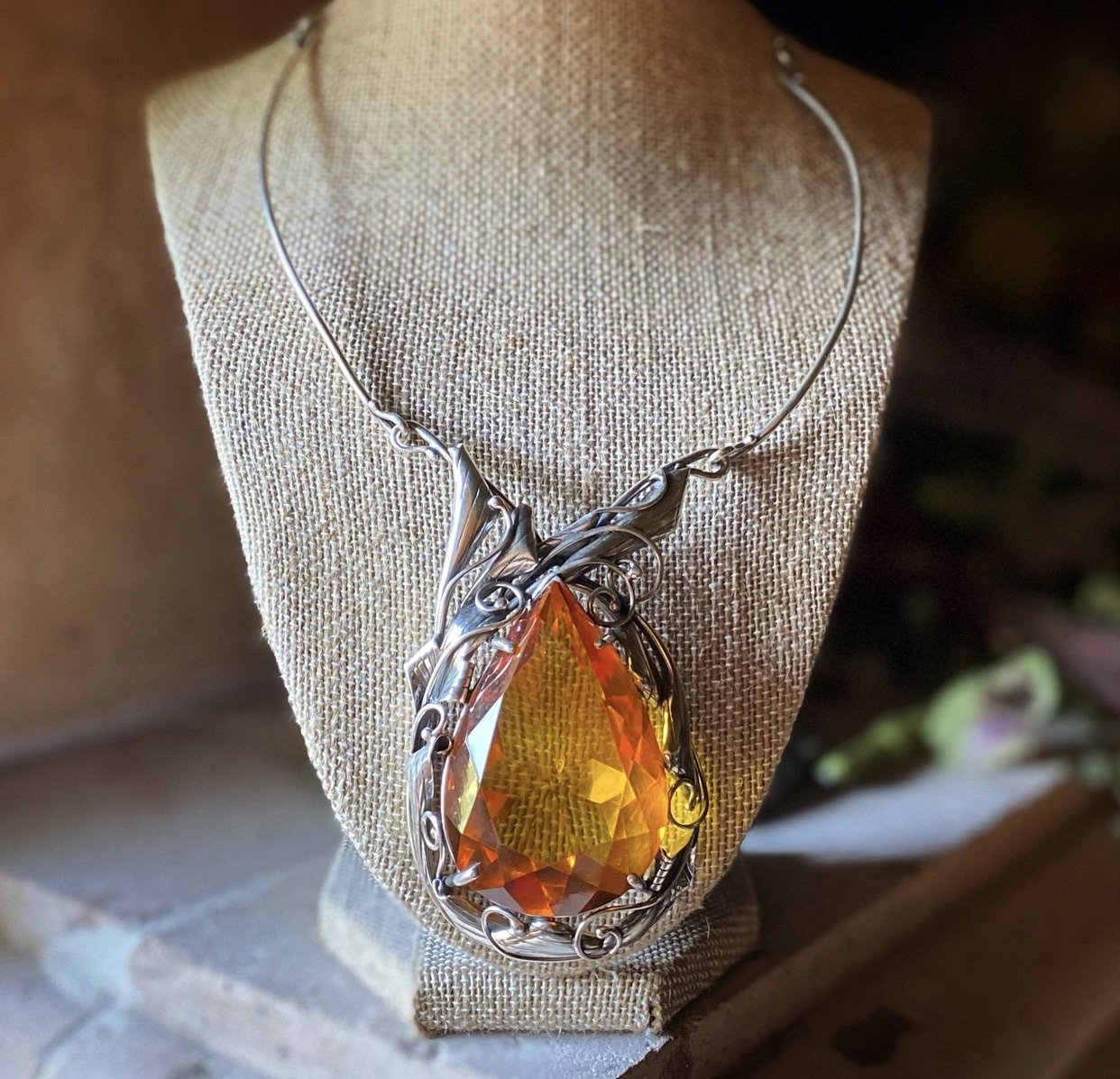 "Gem Cut ""Amber Dreams"" Teardrop Necklace"