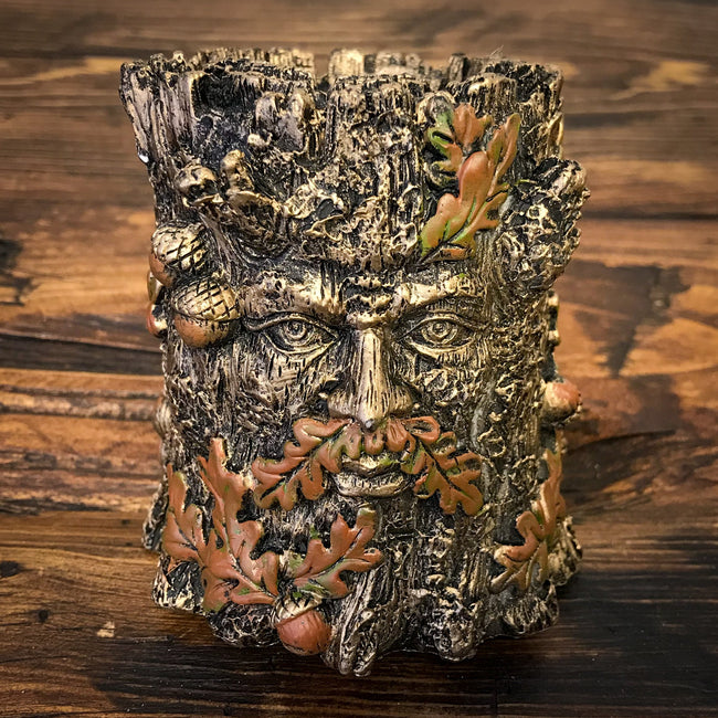 Fall Green Man Candle Holder w/Glass Insert