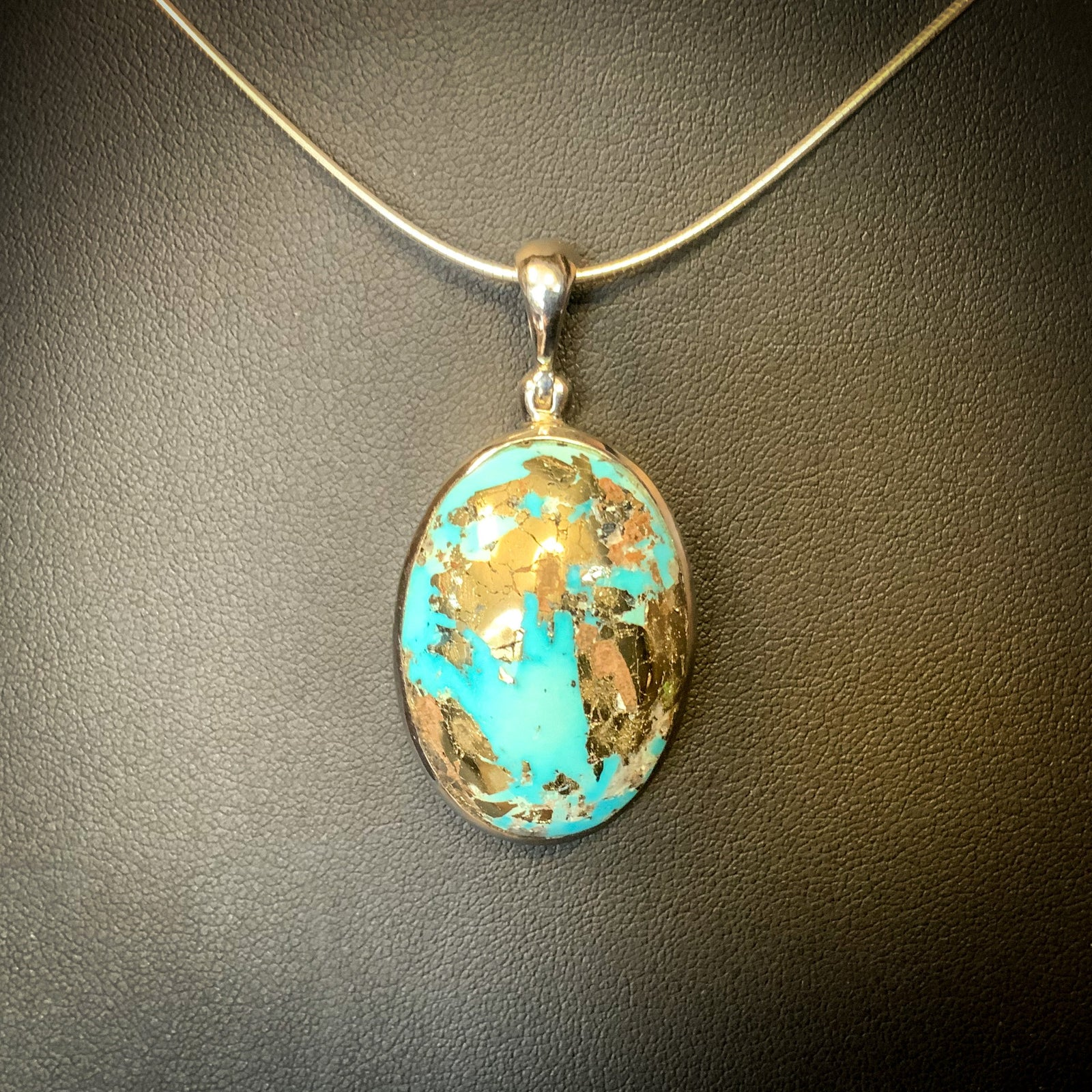 Natural Persian Turquoise, Rhodium Plated Pendant (.925 Silver)