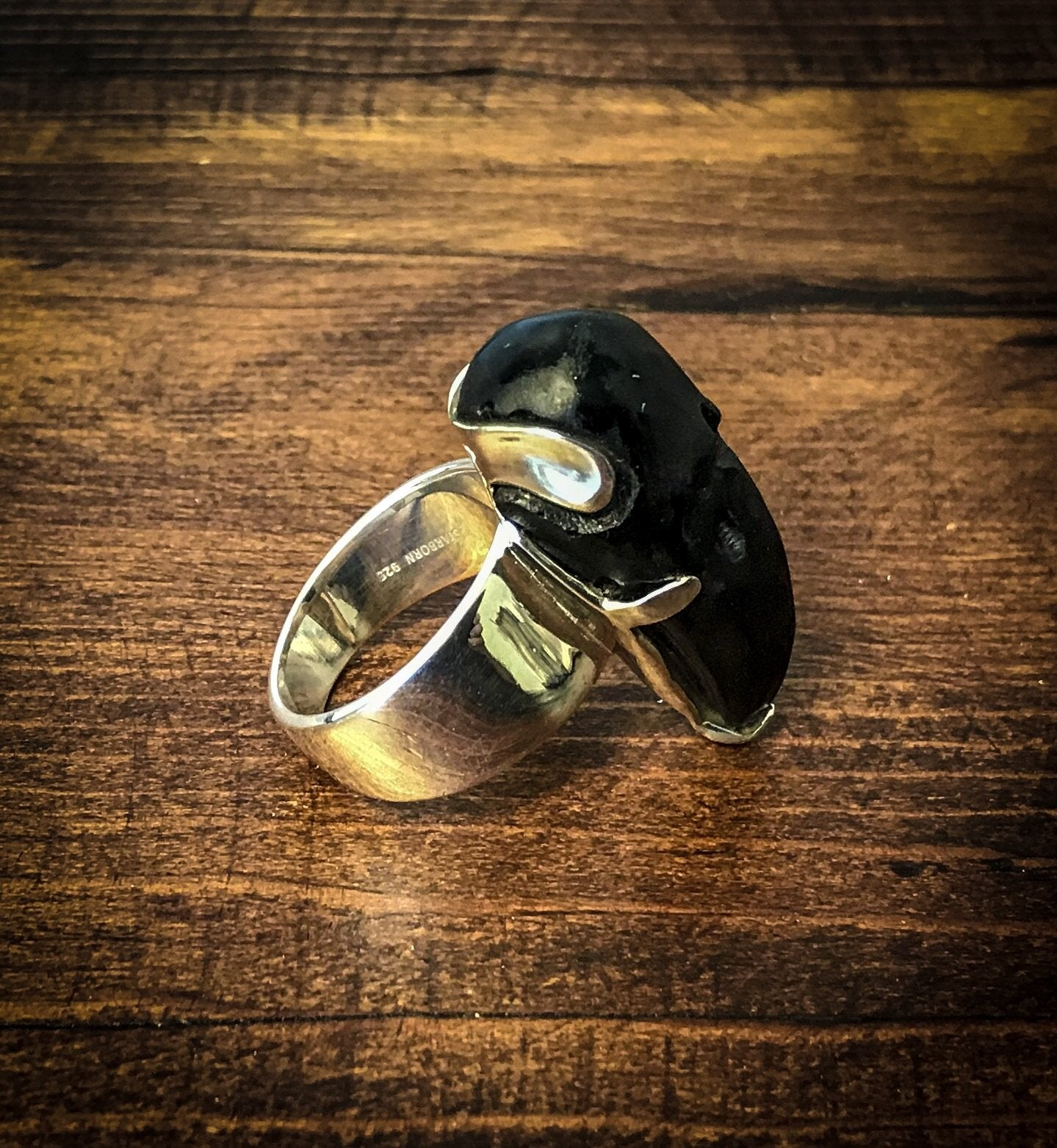 Tektite Carved Raven Ring - Size 7
