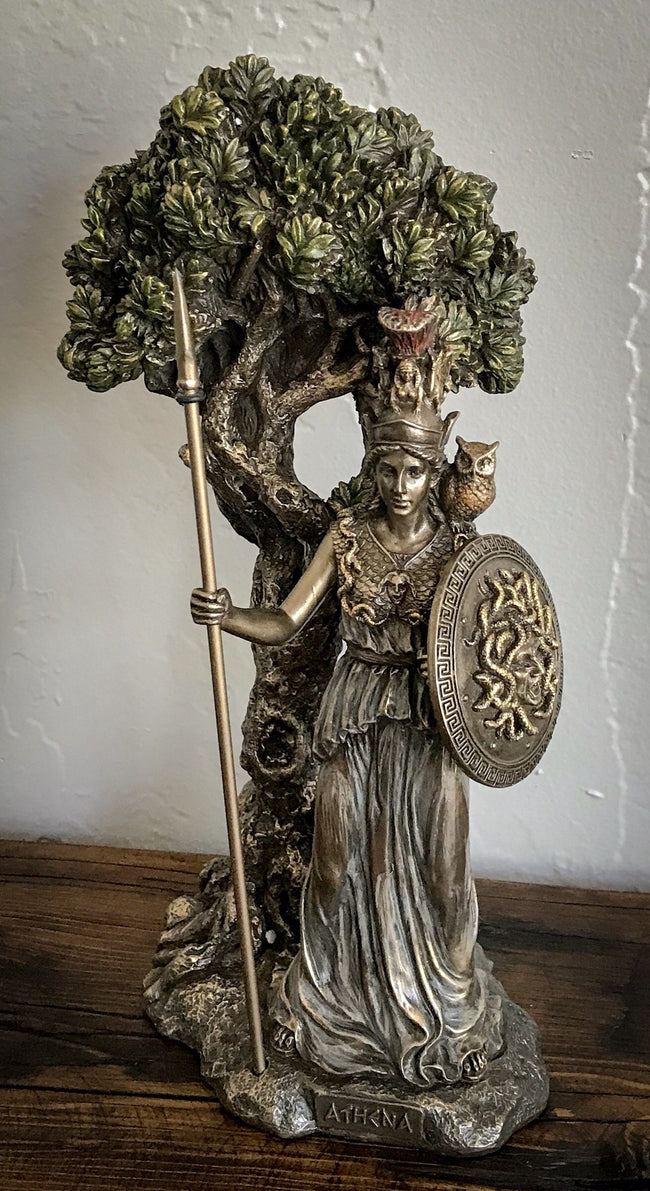 Athena standing under Sacred Olive Tree